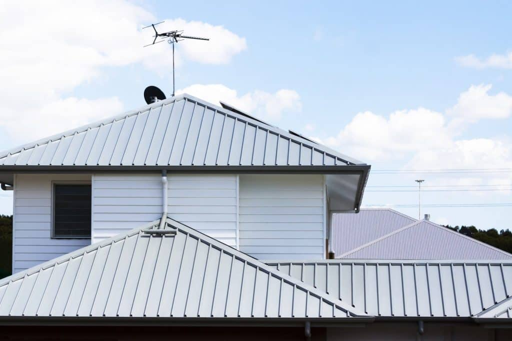 Corrugated iron roofs of modern houses